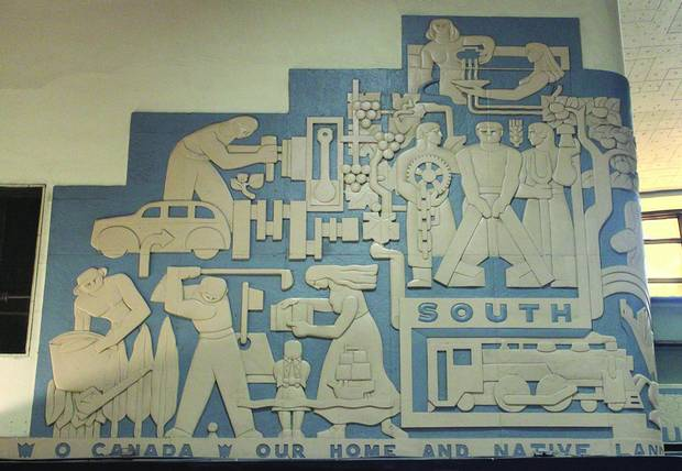 Charles Comfort's bas reliefs in CN's Central Station in Montreal.