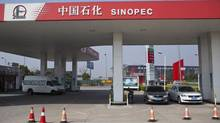 Cars are seen parked at a Sinopec gas station in Shanghai, March 18, 2013. (ALY SONG/REUTERS)