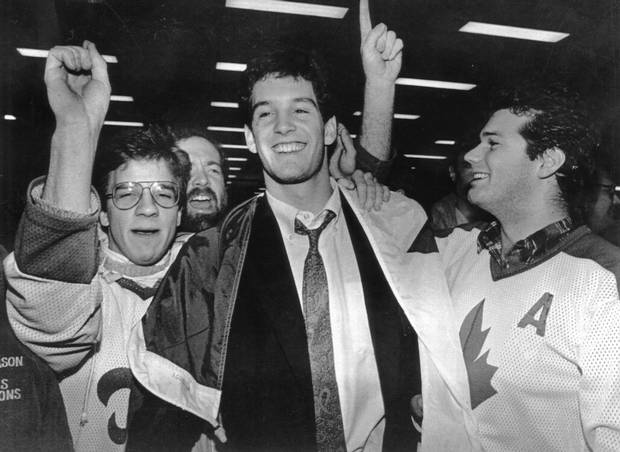 1987 Canadian world juniors team member Brendan Shanahan, now president of the Toronto Maple Leafs, is welcomed home by a group of fans at Toronto International Airport. Shanahan was involved in two fights during the infamous brawl.