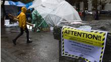 A warning about drugs is posted in the Occupy Vancouver encampment. (ANDY CLARK/ANDY CLARK/REUTERS)