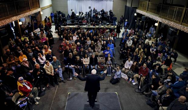 Democratic presidential candidate Bernie Sanders speaks at a campaign event in Fort Dodge, Iowa.