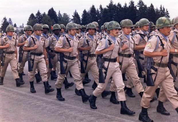 Soldiers on parade at Fort Lewis in 1974.