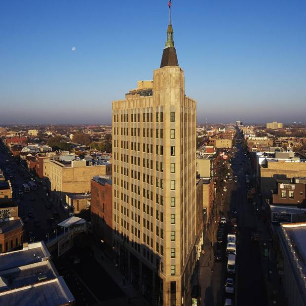 Located on a flat-iron lot, the historic Robey Hotel affords guests some of the best views of the city around.