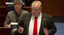 Toronto Mayor Rob Ford answers questions from councillors regarding a plan to remove board members at the Toronto Community Housing Corporation in council chambers at city hall in Toronto, Ont. March 9, 2011. (Kevin Van Paassen/The Globe and Mail/Kevin Van Paassen/The Globe and Mail)