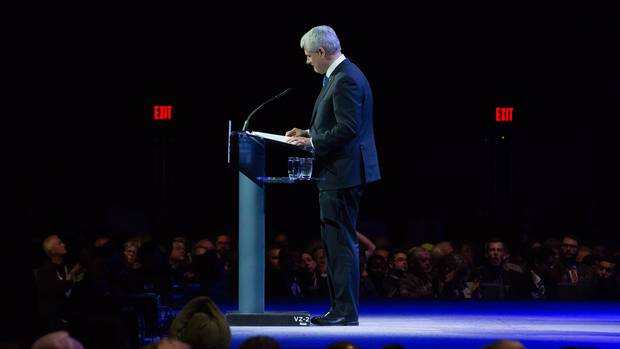 Former prime minister Stephen Harper pauses while addressing delegates during the 2016 Conservative Party convention in Vancouver on May 26, 2016.