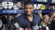 Montreal Canadiens defenceman P.K. Subban speaks to reporters as the team cleans out their lockers Saturday, May 11, 2013 in Brossard, Que. (The Canadian Press)