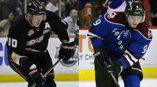 Corey Perry of the Anaheim Ducks and Matt Duchene of the Colorado Avalanche