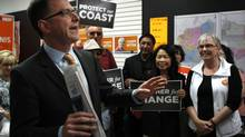 BC NDP Leader Adrian Dix meets with NDP candidate Maurine Karagianis at her campaign office in Esquimalt ,during the British Columbia election campaign, May 10, 2013. (CHAD HIPOLITO/THE CANADIAN PRESS)