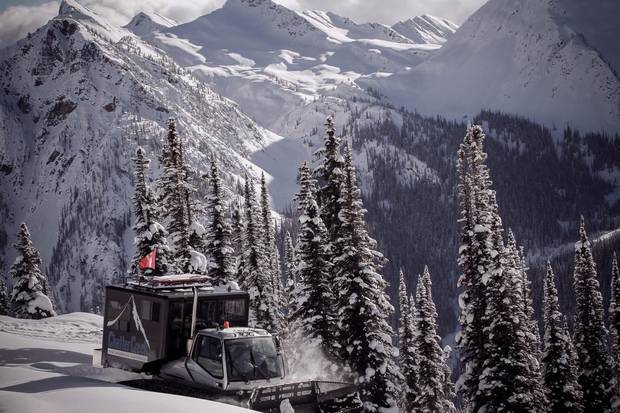 Skiers are ferried around the mountain on snowcats, vehicles with
