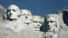The Mount Rushmore Memorial in the Black Hills area of Keystone, S.D., is shown in this 1986 file photo. Technology that provides precise data about cracks on the face of Mount Rushmore confirm the rock is moving, but only with changes in temperatures and only slightly (AP File)