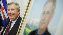 Former premier Ralph Klein, at the unveiling of his official portrait at the Alberta Legislature Rotunda in Edmonton, Alta. on Thursday, August 30, 2007. (John Ulan/The Canadian Press/John Ulan/The Canadian Press)