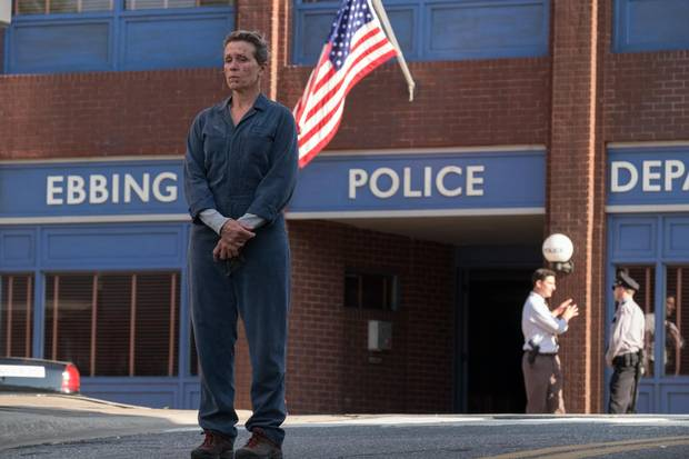 Frances McDormand in the film Three Billboards Outside Ebbing, Missouri. The film was nominated for six Globes, including best actress (Frances McDormand), best supporting actor (Sam Rockwell), best director (Martin McDonagh), best screenplay, best score, and best picture.