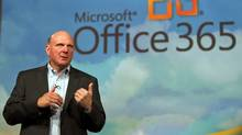 Microsoft CEO Steve Ballmer speaks at the launch of the company's Microsoft 365 cloud service in New York, June 28, 2011. (RAY STUBBLEBINE/REUTERS)
