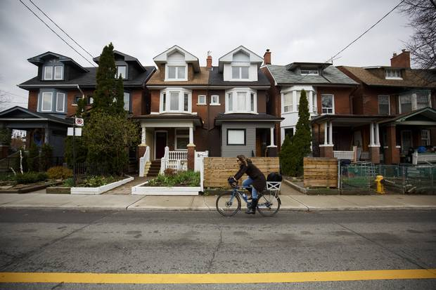 Houses are seen in the west end of Toronto on April 21, 2017.