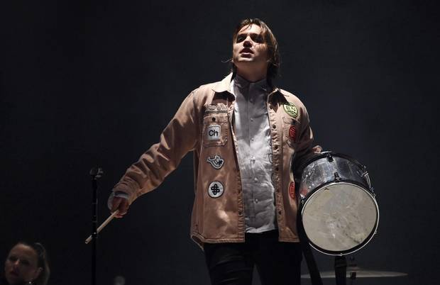 Win Butler of Arcade Fire performs with the band at The Forum on Oct. 20, 2017, in Inglewood, Calif.