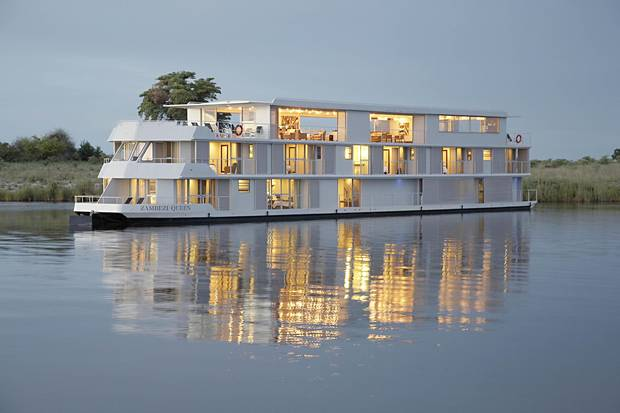 You would expect that a boat named the Zambezi Queen would cruise the river of the same name, but the Zambezi proved too tricky for this three-storey vessel to navigate. Instead, it travels a 25-kilometre stretch of the Chobe River.