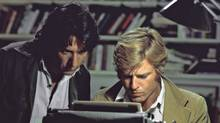 "Robert Redford, right, and Dustin Hoffman as reporters Bob Woodward and Carl Bernstein, respectively, in the 1976 film ""All the President's Men."" (Globe files/Globe files)"