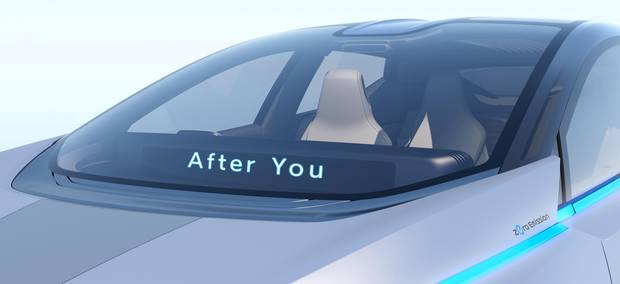 A signal on the driverless Nissan IDS concept car.
