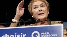 PQ leader Pauline Marois speaks to supporters as she makes a campaign stop in Gatineau, Que., on Friday. On the eve of a vote expected to give the PQ at least a minority government, markets have reacted little to the prospect of the party returning to power for the first time in nearly a decade. (Adrian Wyld/THE CANADIAN PRESS)