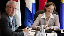 Manitoba Premier Greg Selinger and Alberta Premier Alison Redford take part in the Western Premiers Conference in Edmonton Tuesday, May 29, 2012. (JASON FRANSON/THE CANADIAN PRESS)