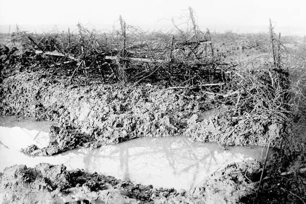 The battlefield at Beaumont-Hamel on the first day of the Somme offensive was a quagmire of mud, water and barbed wire. The approximately 800 officers and soldiers of the 1st Newfoundland Regiment were nearly wiped out in the battle.