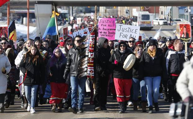 Family and supporters of Thelma Favel, Tina Fontaine's great-aunt and the woman who raised her, marched on Friday, February 23, 2018, in Winnipeg.