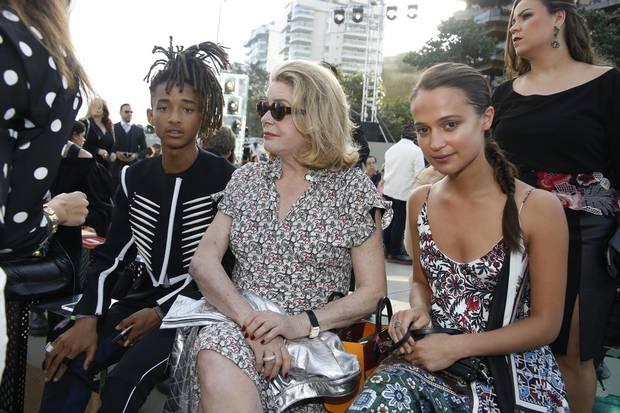 Jaden Smith, Catherine Deneuve and Alicia Vikander attend the LV show.
