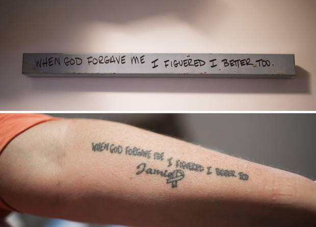 Top: Cpl. McMullin had written these words on a grey metal strip in his basement. Bottom: After his death, his mother had the words tattooed on her arm.