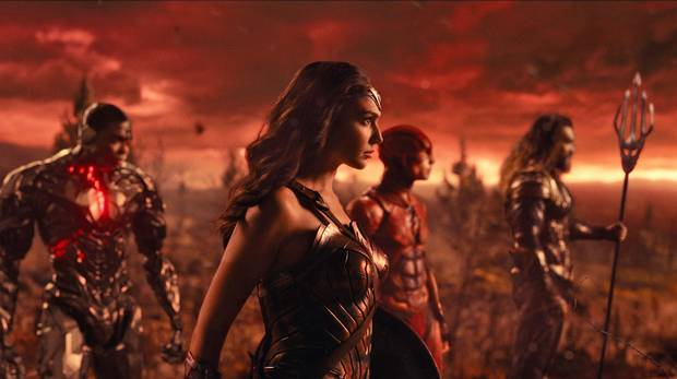 Ray Fisher as Cyborg, Gal Gadot as Wonder Woman, Ezra Miller as the Flash and Jason Momoa as Aquaman in Justice League.