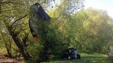 An experimental flying car that crashed in a creek near a schoolyard in Vernon, B.C., on May 10, 2013. (Curtis Allen/CTV News)
