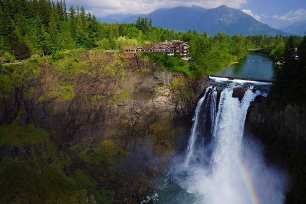 Salish Lodge & Spa, perched beside the roaring Snoqualmie Falls, played the role of the Great Northern hotel in the original series.
