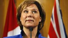 BC Premier Christy Clark speaks to media about former Liberal John van Dongen who recently resigned to join the Conservatives during a press conference at the BC Legislative Building in Victoria, Tuesday March 27,2012. (Chad Hipolito For The Globe and Mail)