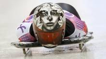 Canada's Sarah Reid speeds down the track during the women's skeleton event at the 2014 Sochi Winter Olympics at the Sanki Sliding Center in Rosa Khutor February 13, 2014. (MURAD SEZER/REUTERS)
