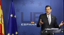 Spain's Prime Minister Mariano Rajoy holds a news conference at the end of a European Union leaders summit in Brussels on March 2, 2012. (YVES HERMAN/YVES HERMAN/REUTERS)