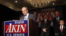 Republican U.S. Sen. candidate Todd Akin speaks to supporters after his loss during his election night rally in Chesterfield, Missouri November 6, 2012. (SARAH CONARD/REUTERS)