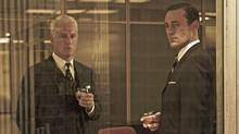 John Slattery and Jon Hamm in a scene from Mad Men. (AMC)