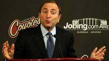 NHL commissioner Gary Bettman speaks during a press conference before the NHL game between the Phoenix Coyotes and the Tampa Bay Lightning at Jobing.com Arena on November 16, 2009 in Glendale, Arizona. (Christian Petersen/Getty Images)