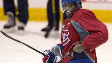 Montreal Canadiens defenceman P.K. Subban has a laugh during the team's practice Wednesday, May 1, 2013 in Brossard, Que. Subban, Pittsburgh Penguins Kris Letang and Minnesota Wild's Ryan Suter have been named finalists for the James Norris Memorial Trophy, given annually to the top defenceman in the NHL. (Ryan Remiorz/THE CANADIAN PRESS)