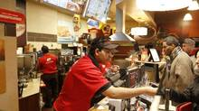 A Tim Hortons outlet in Toronto, Feb. 20, 2014. (Fernando Morales/The Globe and Mail)