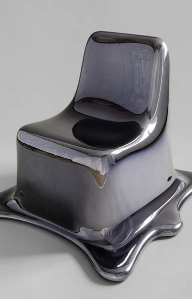 A chair caught in mid-melt: It's hard to tell whether Viennese designer Philipp Aduatz's chrome Melting Chair is in the process of forming together (like the demonic villain, T-1000, from Terminator 2) or about to pool on the ground like a blob of mercury. The seat is made from a special mirrored coating that is also scratch-resistant (so you can sit on it safely without worrying about scuff marks). philippaduatz.com. (Philipp Aduatz)