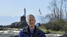 NDP Leader Jack Layton delivers his party's defence-spending plan at the Rodd Hill historic site at Esquimalt, B.C., on APril 8, 2011. (Paul Chiasson/The Canadian Press/Paul Chiasson/The Canadian Press)