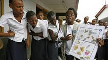Students in Kinshasa, the Democratic Republic of Congo, receive sex education. (Jacky Naegelen/REUTERS)