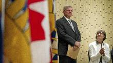 Former MP John Cummins, with his wife Sue in Vancouver Tuesday, announces he wil be running for leadership of the B.C. Conservatives. (JOHN LEHMANN/JOHN LEHMANN/THE GLOBE AND MAIL)