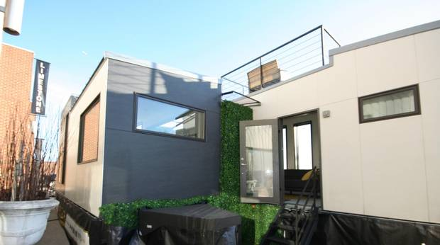 The house is really two custom-built boxes roughly the size of shipping containers.