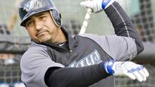 Toronto Blue Jays catcher Jose Molina prepares to hit at the team's MLB baseball spring training facility in Dunedin, Florida, February 22, 2010. (FRED THORNHILL)