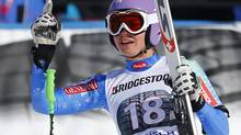 Slovenia's Tina Maze celebrates after the women's Alpine Skiing World Cup Downhill race in Garmisch-Partenkirchen March 2, 2013. (MICHAEL DALDER/REUTERS)