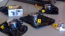Five pieces of evidence, including pressure cooker bombs, police say were to be used as explosives in an attack planned for Victoria. (RCMP Handout)