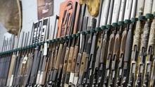 Rifles line an Ottawa hunting store's shelves on May 16, 2006. (JONATHAN HAYWARD/The Canadian Press)