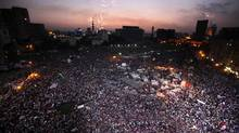 Protesters opposing Egyptian President Mohammed Morsi take part in a protest at Tahrir Square in Cairo on July 2, 2013. (MOHAMED ABD EL GHANY/REUTERS)