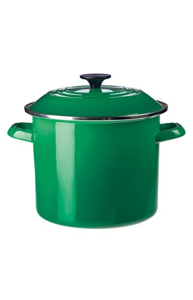 "FRENCH TWIST: Most fanatic foodies can count at least one piece of Le Creuset cookware in their stable of kitchen basics. Now, fans of the iconic French line can also be on trend as they whip up their hearty winter stews. Made of enamelled cast iron, this lidded French oven in the appetizing shade of ""fennel"" can go from cooktop to oven to table, looking effortlessly elegant along the way. Le Creuset Round French Oven in Fennel, $270 to $395 at The Bay (www.thebay.com). (Handout)"